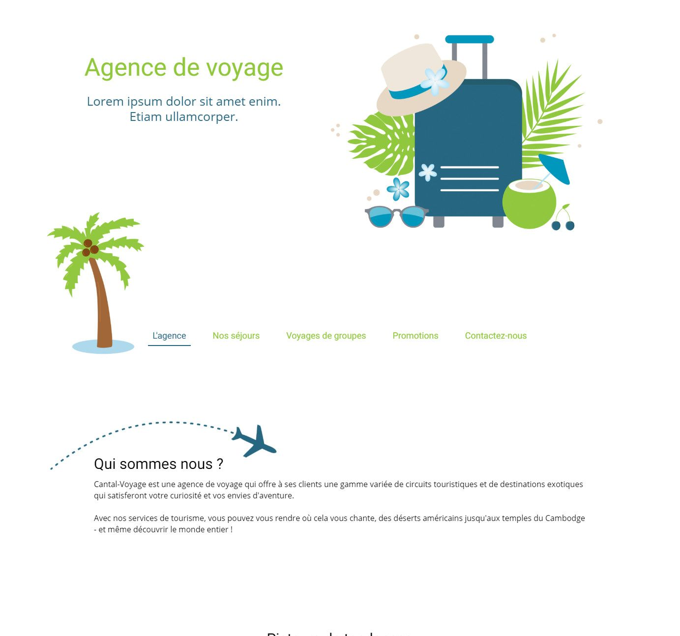 Theme for website creation of Agence de Voyages