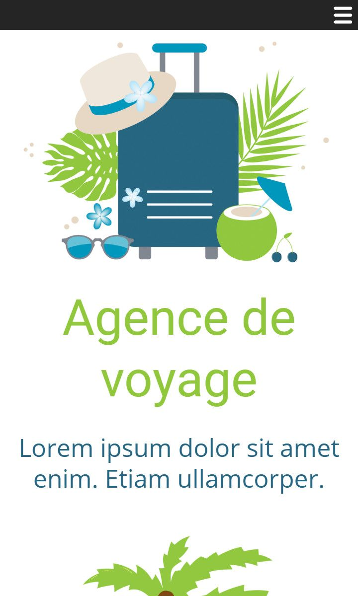 Mobile theme for easy website creation of Agence de Voyages