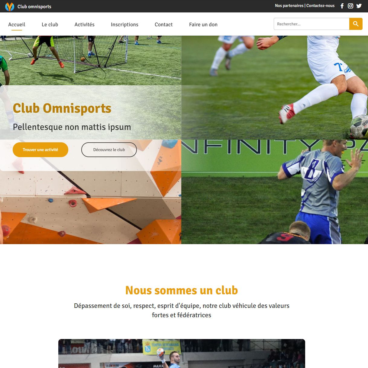 Theme for website creation of Club de sport