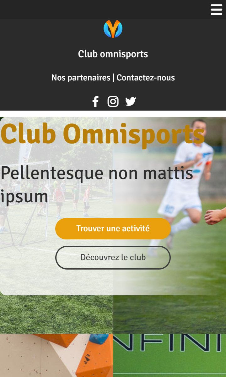 Mobile theme for easy website creation of Club de sport
