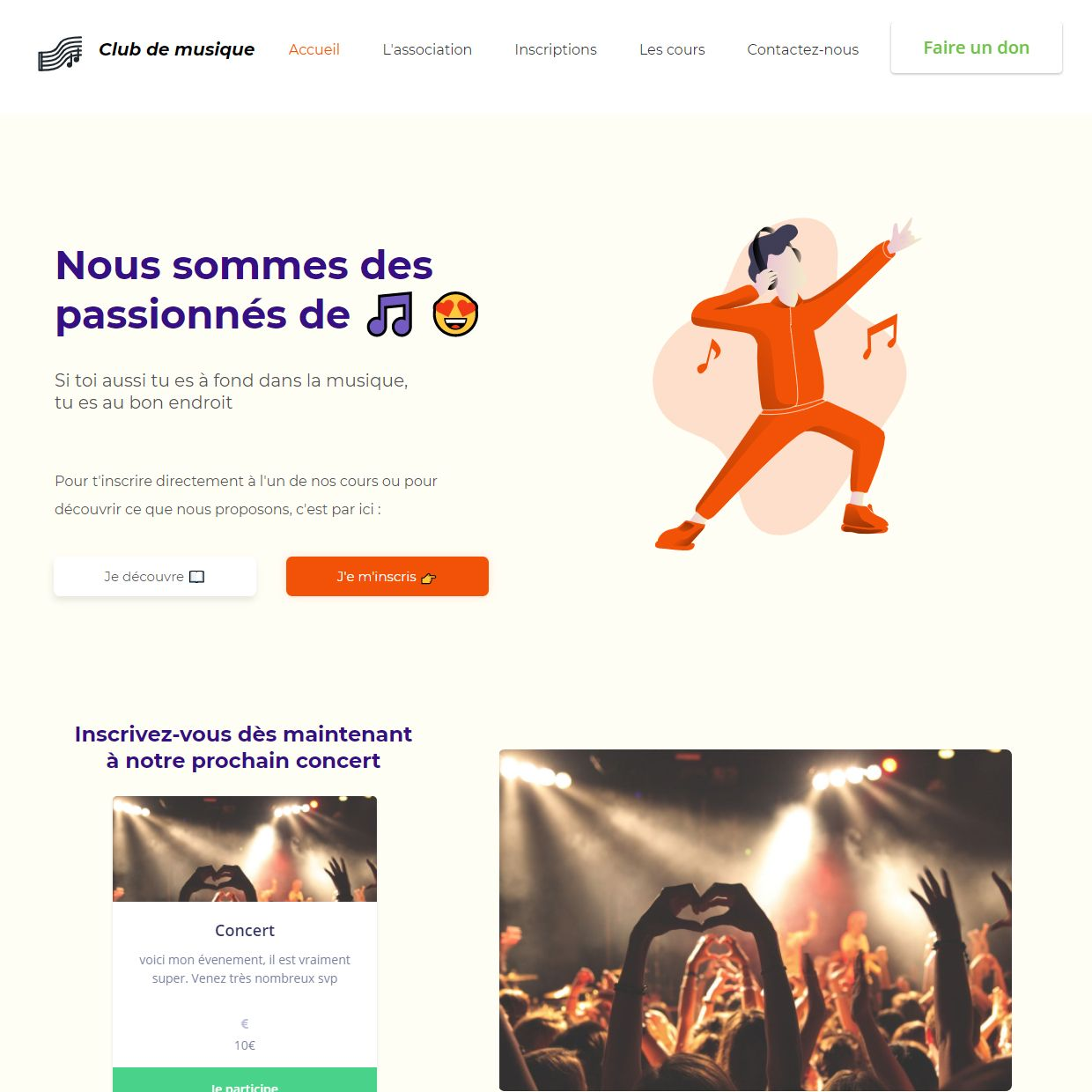 Theme for website creation of Club de musique