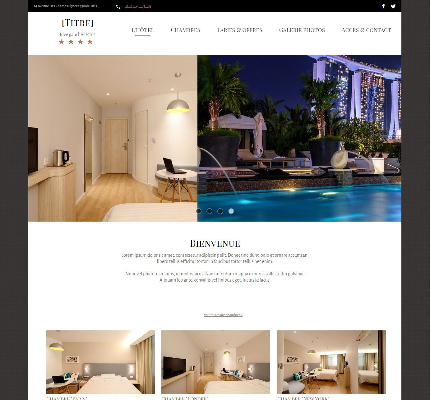 Theme for website creation of Hotel